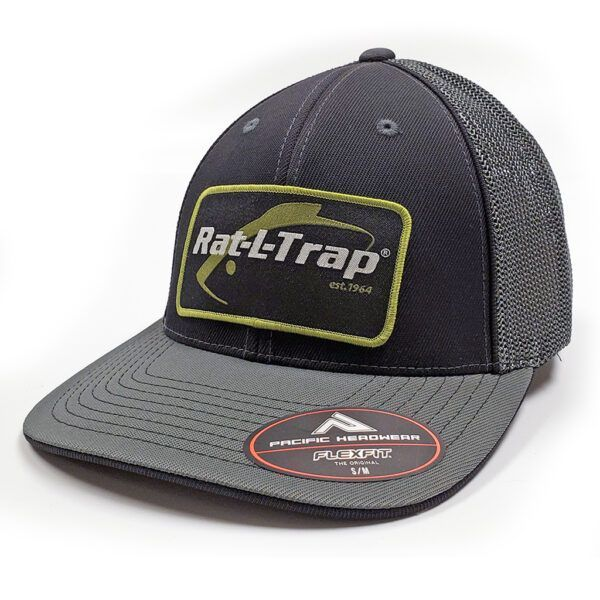 APP-HT-9-PT9 (GREY & BLACK FITTED PACIFIC HEADWEAR W/ GREEN/BLK RT PATCH)